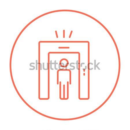 Stock photo: Man going through metal detector gate sketch icon.