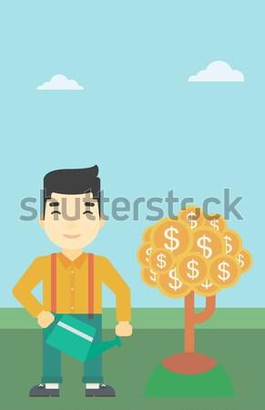 Businessman catching dollar coins. Stock photo © RAStudio