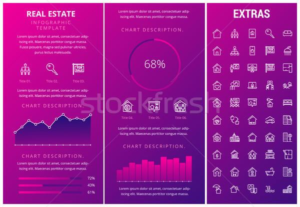 Inmobiliario infografía plantilla elementos iconos personalizable Foto stock © RAStudio