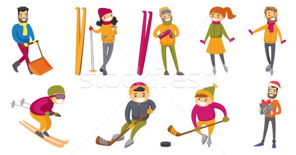 Kaukázusi fehér emberek játszik tél sportok szett Stock fotó © RAStudio