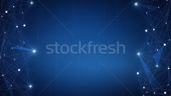 Teknoloji fütüristik afiş ağ zincir bloklar Stok fotoğraf © RAStudio