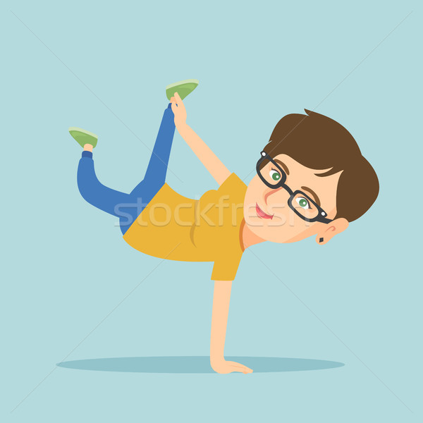 Young caucasian woman breakdancing. Stock photo © RAStudio
