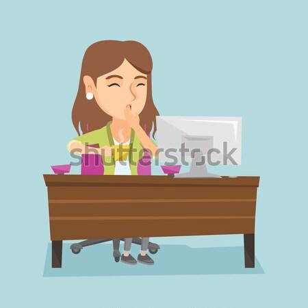 устал сотрудник служба деловой женщины Сток-фото © RAStudio