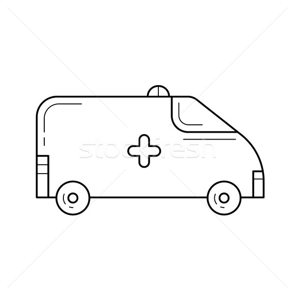 Ambulance lijn icon vector geïsoleerd witte Stockfoto © RAStudio