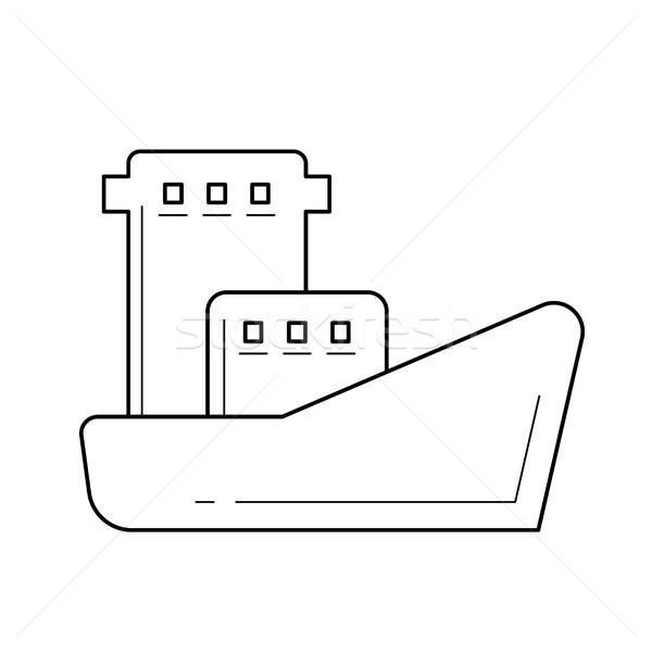 Olajtanker vektor vonal ikon izolált fehér Stock fotó © RAStudio