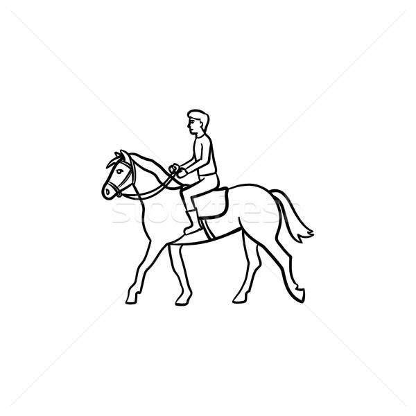 человека верховая езда лошади седло рисованной икона Сток-фото © RAStudio