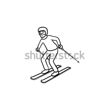 スキーヤー スキー 手描き いたずら書き アイコン ストックフォト © RAStudio