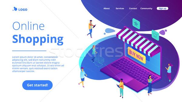Isometric online shopping and buying landing page. Stock photo © RAStudio