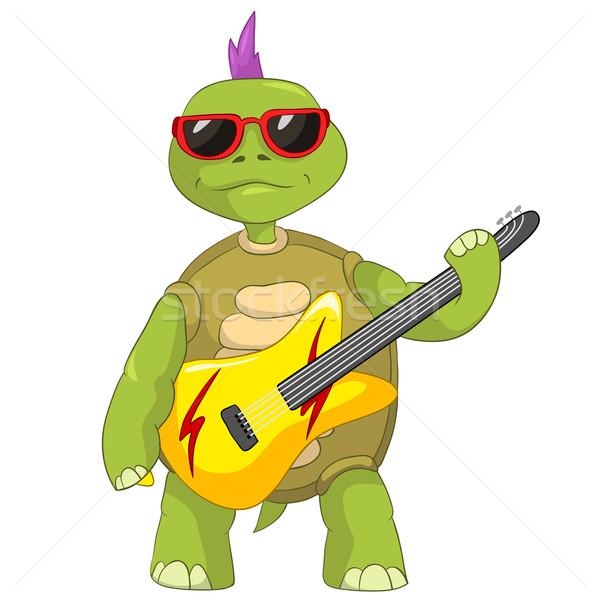 Engraçado tartaruga estrela do rock isolado branco Foto stock © RAStudio