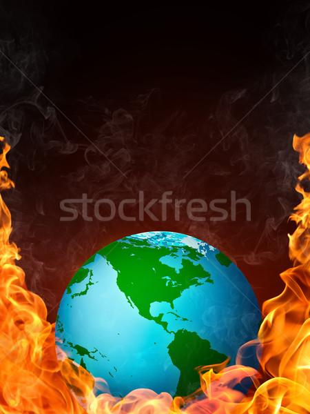 Dünya alev yangın bilgisayar grafikleri iş deniz Stok fotoğraf © RAStudio