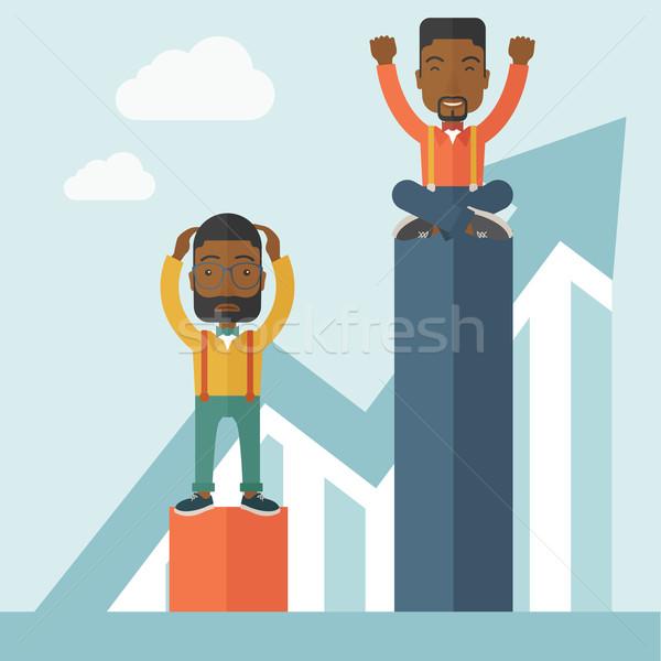 Deux affaires homme haut heureux séance Photo stock © RAStudio