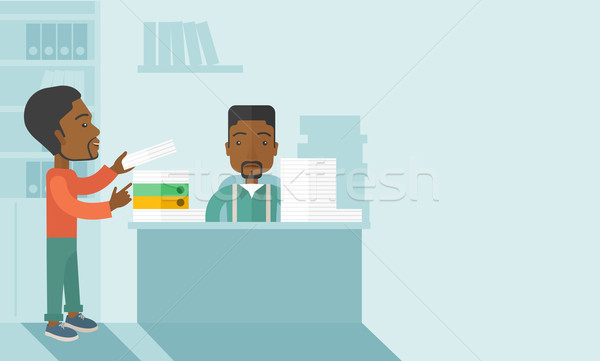 Two black office clerk inside the office. Stock photo © RAStudio