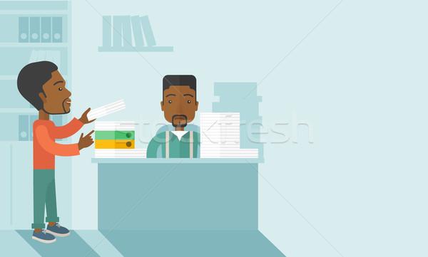 Iki siyah ofis içinde siyah adam ayakta Stok fotoğraf © RAStudio