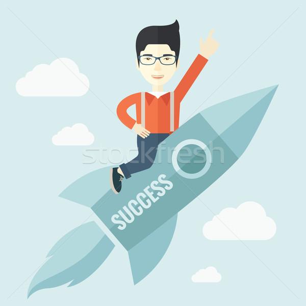 Férfi startup üzletember repülés rakéta kéz Stock fotó © RAStudio