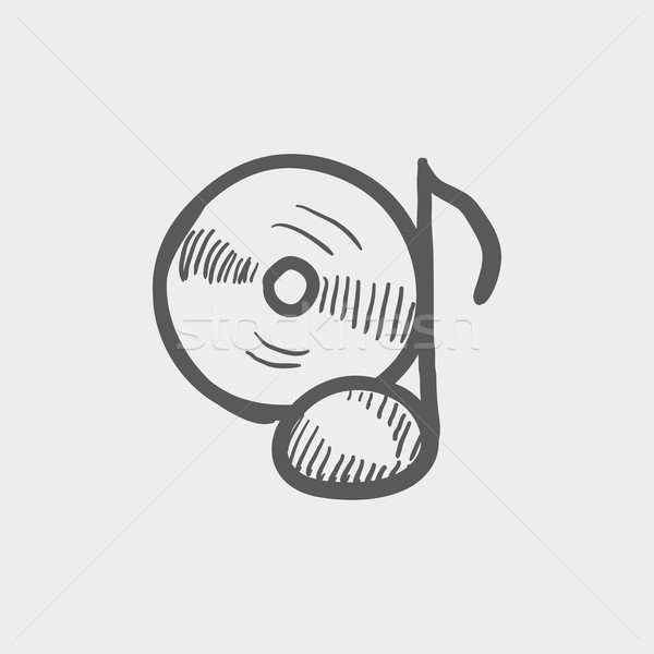 Note with phonograph record sketch icon Stock photo © RAStudio