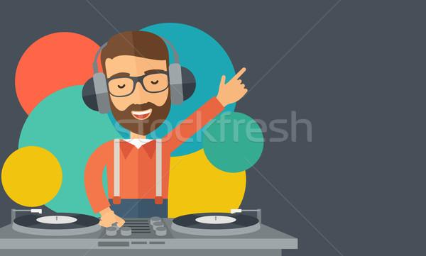 ディスクジョッキー 音楽 白人 ヘッドホン ルーム ストックフォト © RAStudio