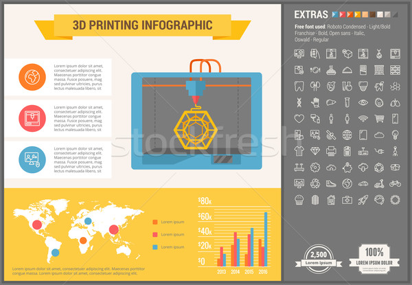 Three D printing flat design Infographic Template Stock photo © RAStudio