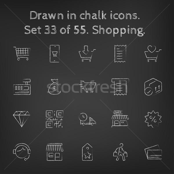 Stock photo: Shopping icon set drawn in chalk.