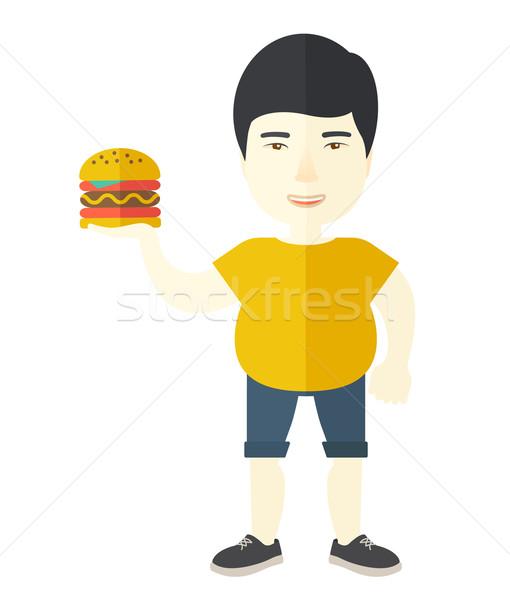Homem hambúrguer asiático vetor Foto stock © RAStudio