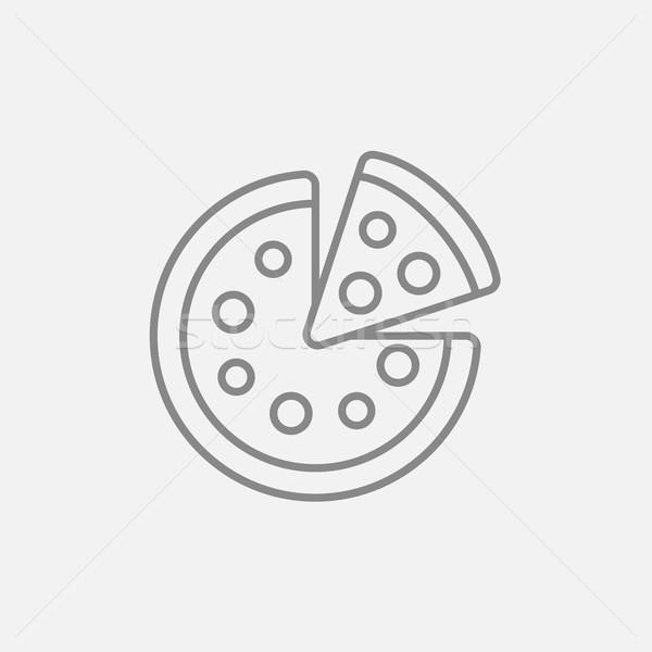 Egész pizza szelet vonal ikon háló mobil Stock fotó © RAStudio