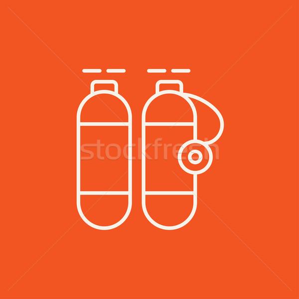 Stock fotó: Oxigén · tank · vonal · ikon · háló · mobil