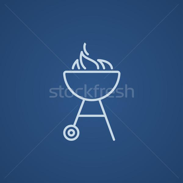 Ketel barbecue lijn icon vlam web Stockfoto © RAStudio