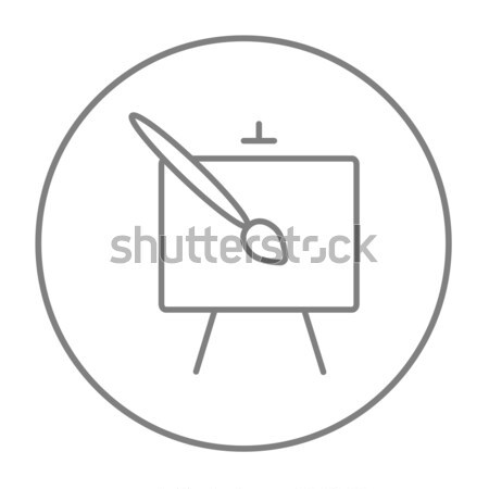 Cavalete paint brush linha ícone teia móvel Foto stock © RAStudio