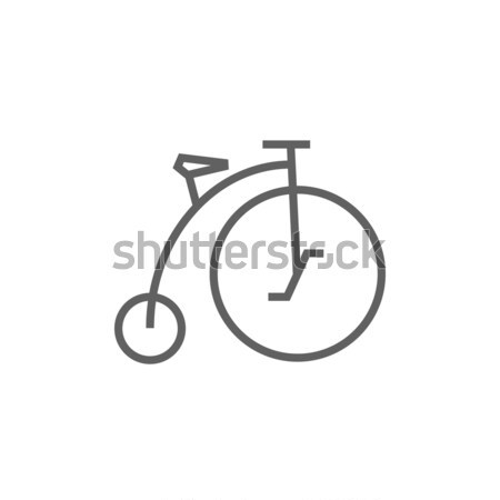 Stock photo: Old bicycle with big wheel line icon.