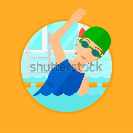Pływak szkolenia basen cap okulary Zdjęcia stock © RAStudio