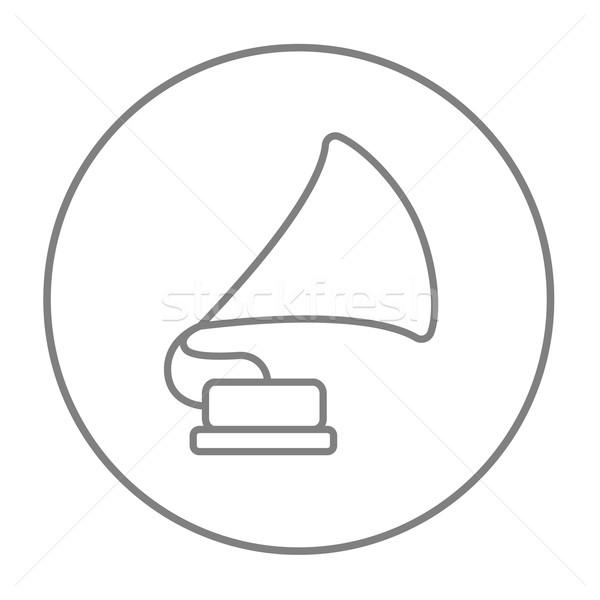 Gramofone linha ícone teia móvel infográficos Foto stock © RAStudio