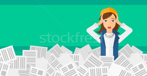 Kadın gazeteler kafa çalışmak Stok fotoğraf © RAStudio