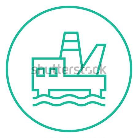 Offshore olie lijn icon web Stockfoto © RAStudio