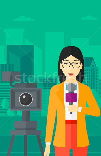 Tv verslaggever werken camera asian permanente Stockfoto © RAStudio