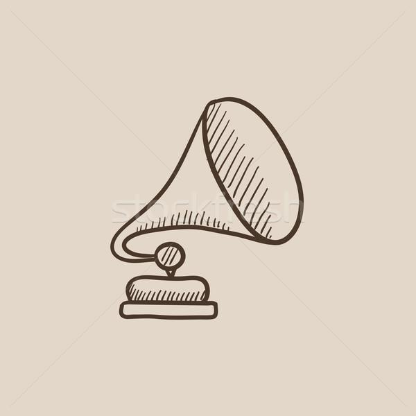 Gramófono boceto icono web móviles infografía Foto stock © RAStudio