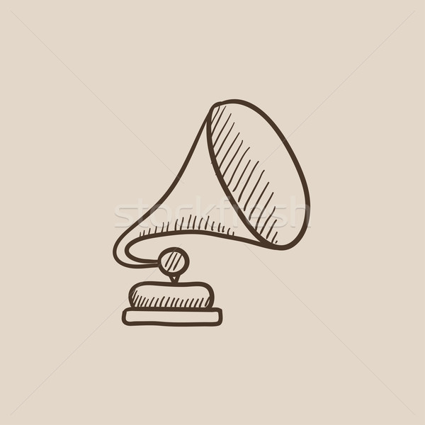 Gramofon kroki ikon web hareketli infographics Stok fotoğraf © RAStudio