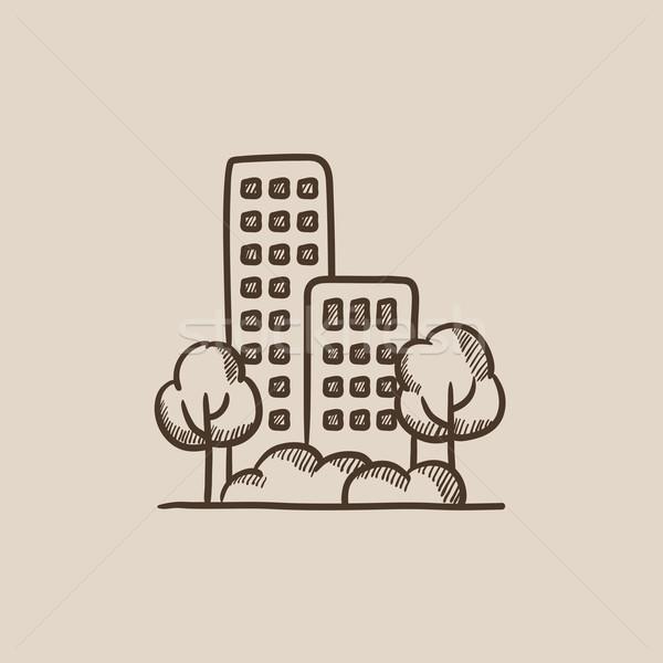 Residencial edificio árboles boceto icono web Foto stock © RAStudio