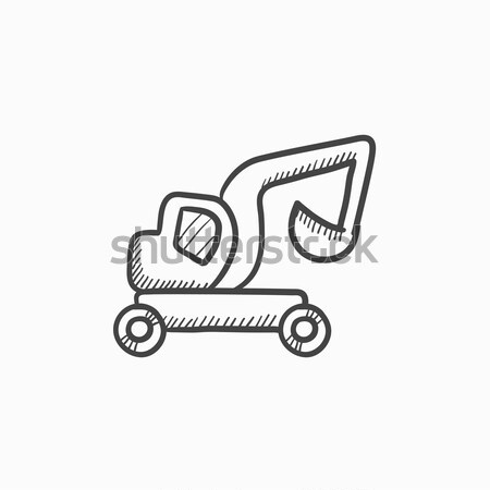 Excavator truck sketch icon. Stock photo © RAStudio