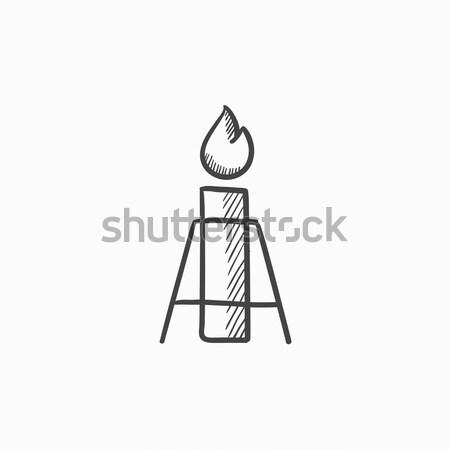 Gaz parlama hat ikon köşeler web Stok fotoğraf © RAStudio