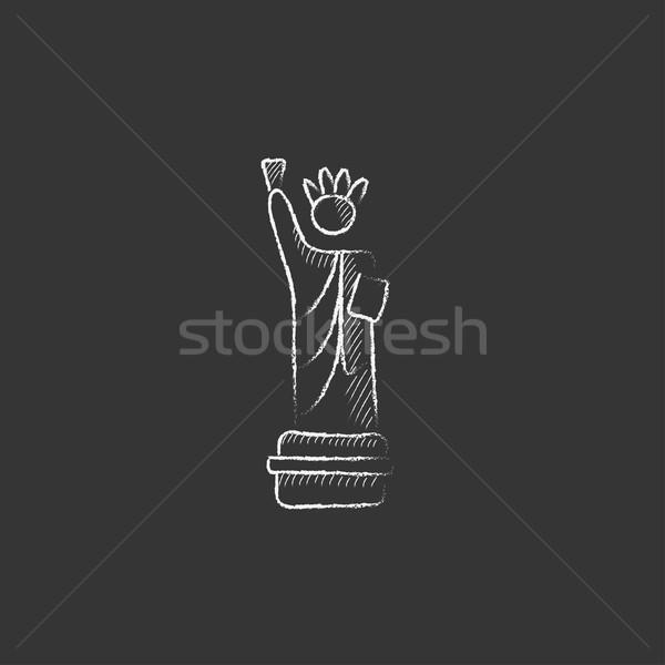 Statue of Liberty. Drawn in chalk icon. Stock photo © RAStudio
