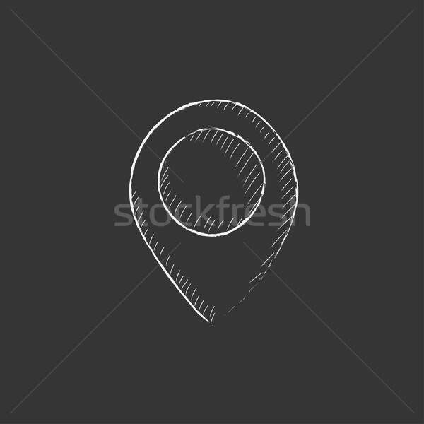 Map pointer. Drawn in chalk icon. Stock photo © RAStudio