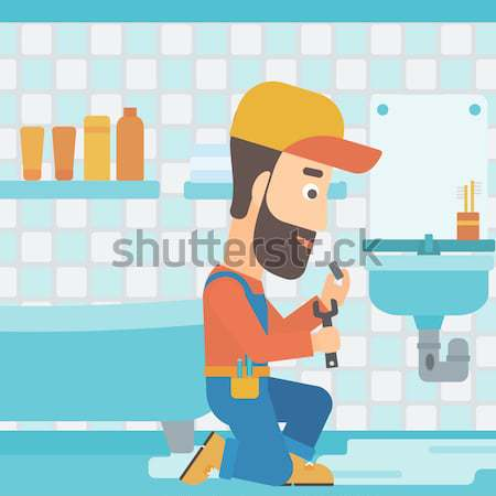 Man repairing sink. Stock photo © RAStudio