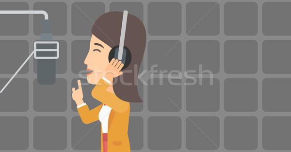 певицы запись женщину наушники голосом Сток-фото © RAStudio