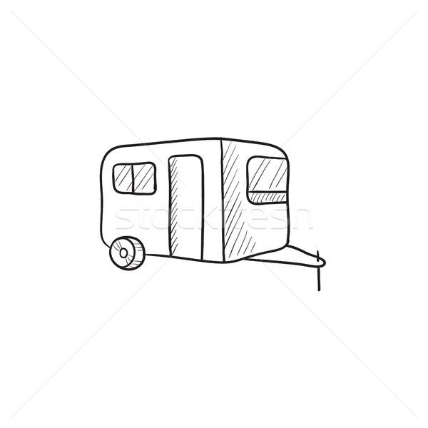 キャラバン スケッチ アイコン ベクトル 孤立した 手描き ストックフォト © RAStudio