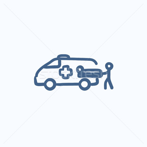 Man with patient and ambulance car sketch icon Stock photo © RAStudio