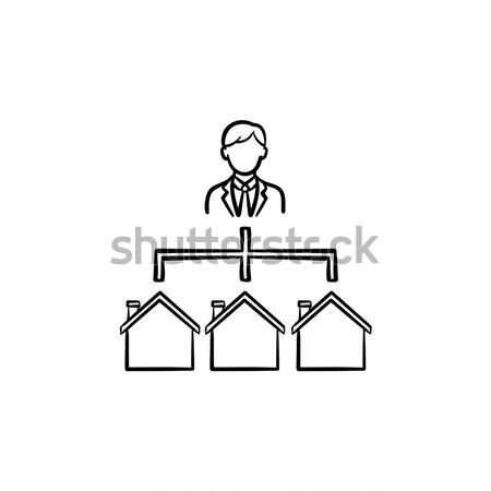 trei case schi icoan vector ilustratie. Black Bedroom Furniture Sets. Home Design Ideas