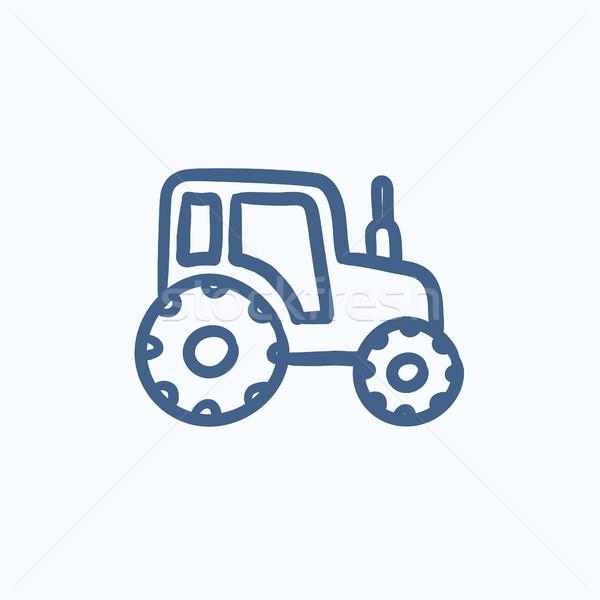 Tracteur croquis icône vecteur isolé dessinés à la main Photo stock © RAStudio