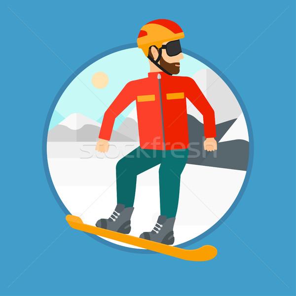 Jonge man snowboarden man baard sneeuw Stockfoto © RAStudio