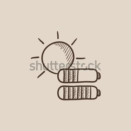 Zonne-energie schets icon vector geïsoleerd Stockfoto © RAStudio