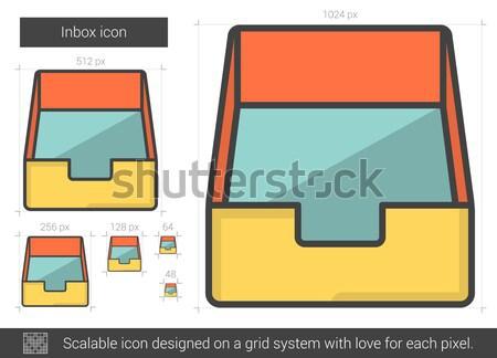 Boîte de réception ligne icône vecteur isolé blanche Photo stock © RAStudio
