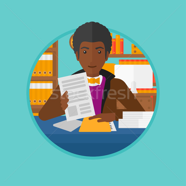 HR manager checking files vector illustration. Stock photo © RAStudio